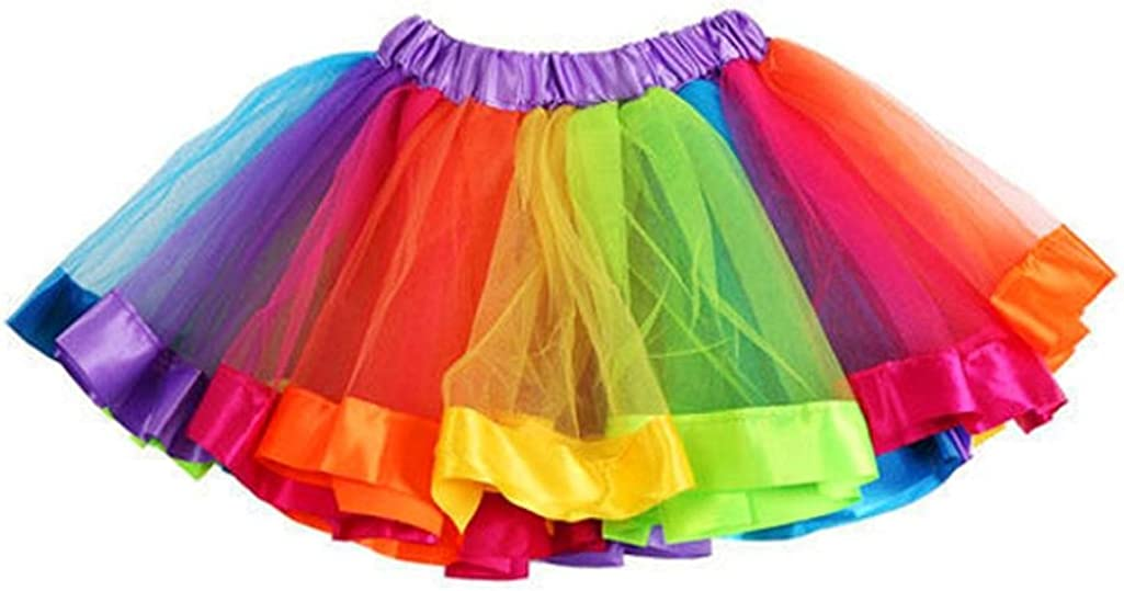 Sumen Kids Girls Skirt Petticoat Rainbow Pettiskirt Bowknot Tutu Dress Dancewear