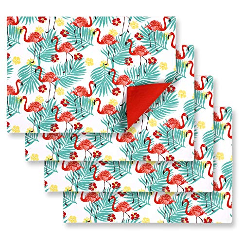Cackleberry Home Tropical Flamingo Placemats 13 x 19 Inches Cotton Reversible, Set of 4