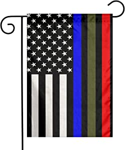 Military American Flag Army Police Cop Firefighter Fire Blue Green Red Thin Line Black Stripe Flax Nylon Burlap Linen Fabric Garden Flag Farmhouse Mailbox Decor Welcome 12x18 Inch Small Double Sided