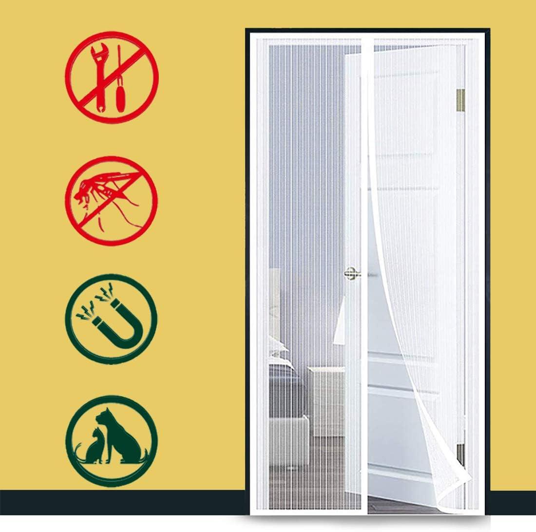 GUOGAI Cortina Mosquitera para Puertas 70x190cm Mosquitera Magn/ética Puerta Mosquitera contra Insectos para Puertas Correderas Blanco 28x75inch