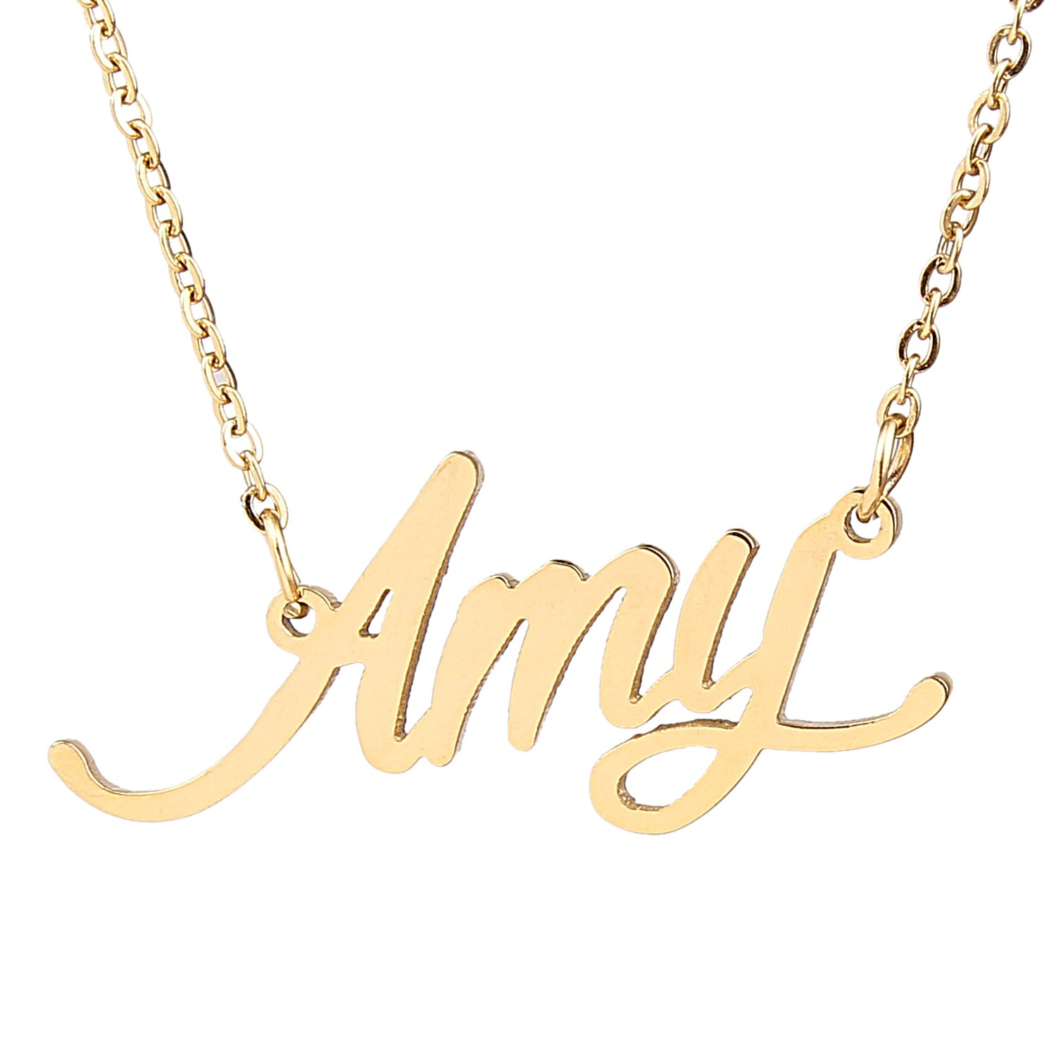 three products with necklace gold initial letters block signature cursive or