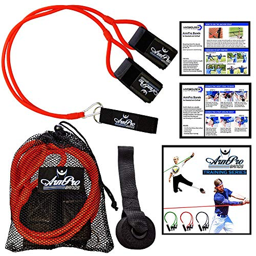 Arm Pro Bands Baseball Softball Resistance Training Bands - Arm Strength and Conditioning, Available in 3 Levels (Youth, Advanced, Elite), Anchor Strap, Door Mount, Travel Bag, Training Download