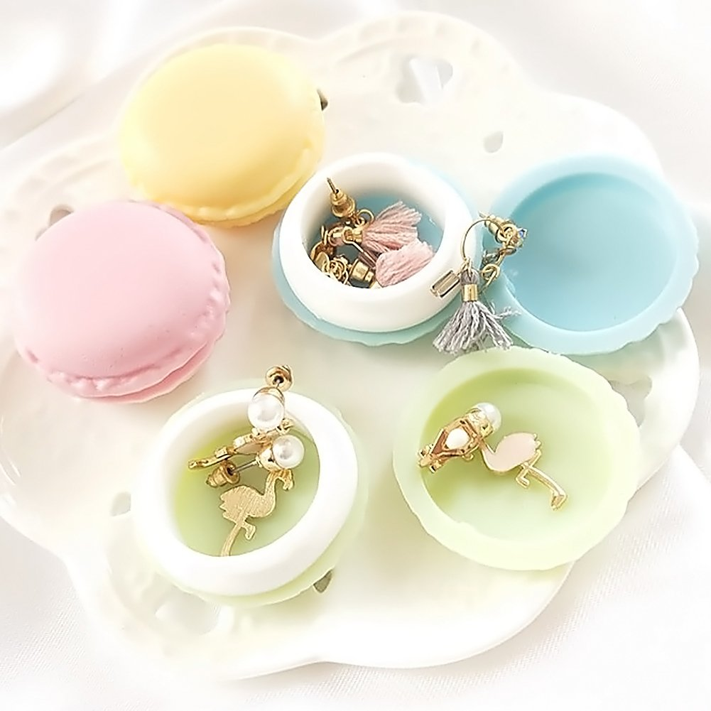 8pcs Macaron Pill Box,Party Favor Macaroon Jewelry Boxes Portable Travel Decorative Storage Boxes Pill Case Container Ring Necklace Earring Jewelry Carrying Case
