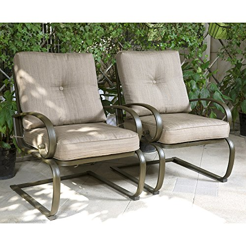 Cloud Mountain Set of 2 Patio Club Chairs Outdoor Dining Chairs Wrought Iron Set Garden Dining Bounce Seating Chair, Gradient Brown (Wrought Iron Porch Furniture)