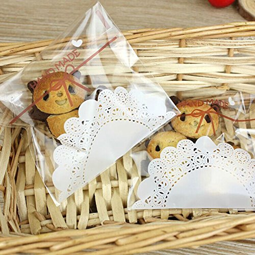 Saasiiyo 100 pcs Lovely lace bow Print Gifts Bags Christmas Cookie packaging self-adhesive plastic bags for biscuits Candy Cake package (My Goodness Gift Baskets)