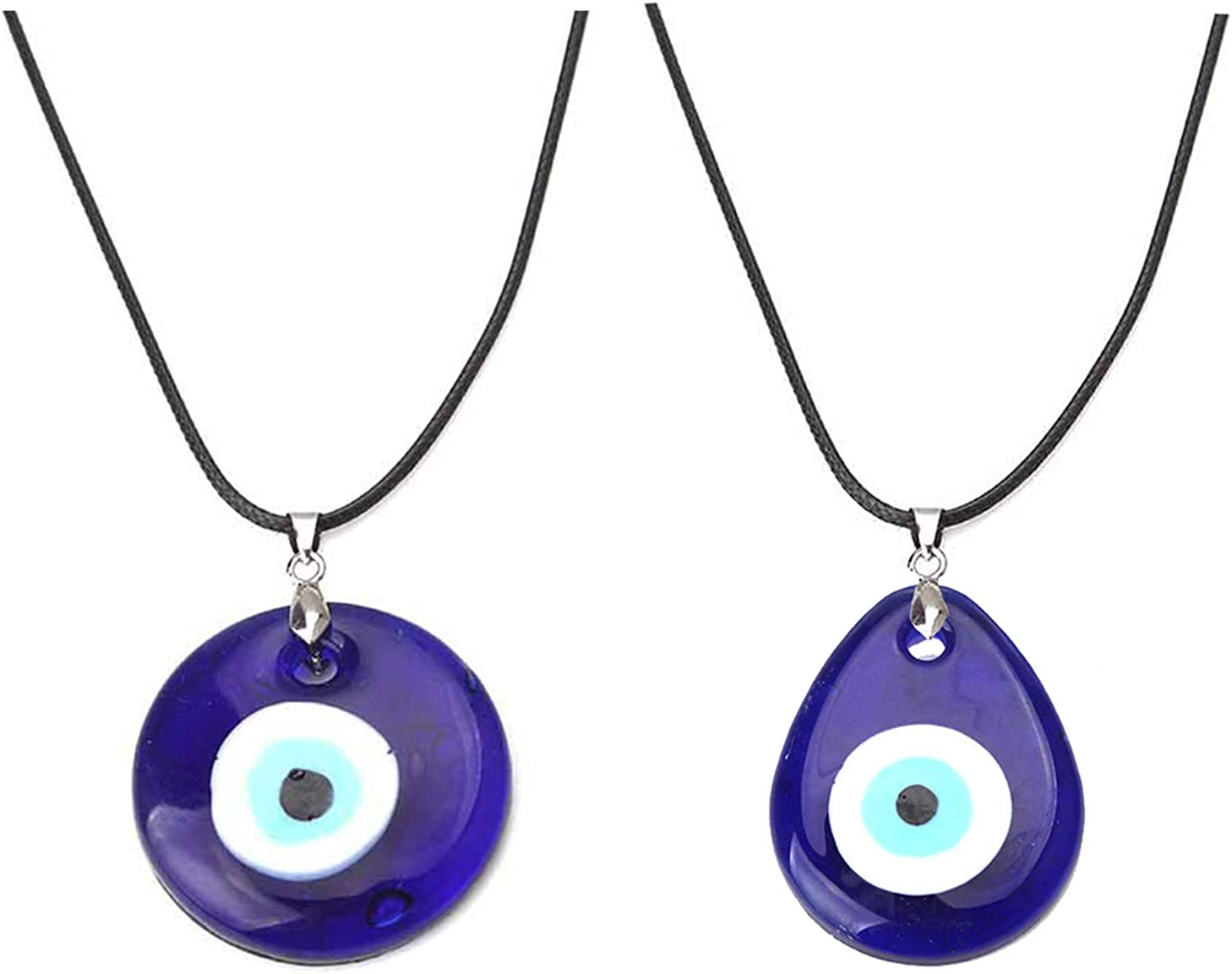 Caiyao Evil Eye Pendant Necklace Glass Leather Rope Chain Turkish Protact Lucky Necklace for Women Men