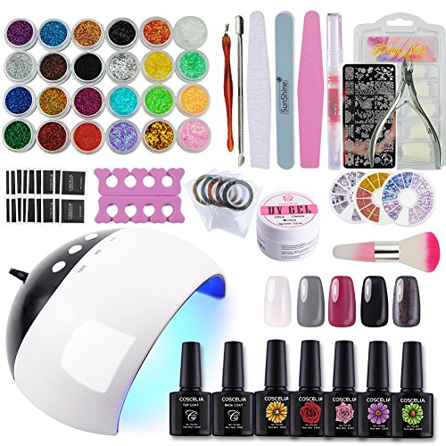 Coscelia 5 Colors Gel Nail Polish Kit with 24W LED Nail Dryer,Base Top Coat Manicure Tools Nail Art Designs