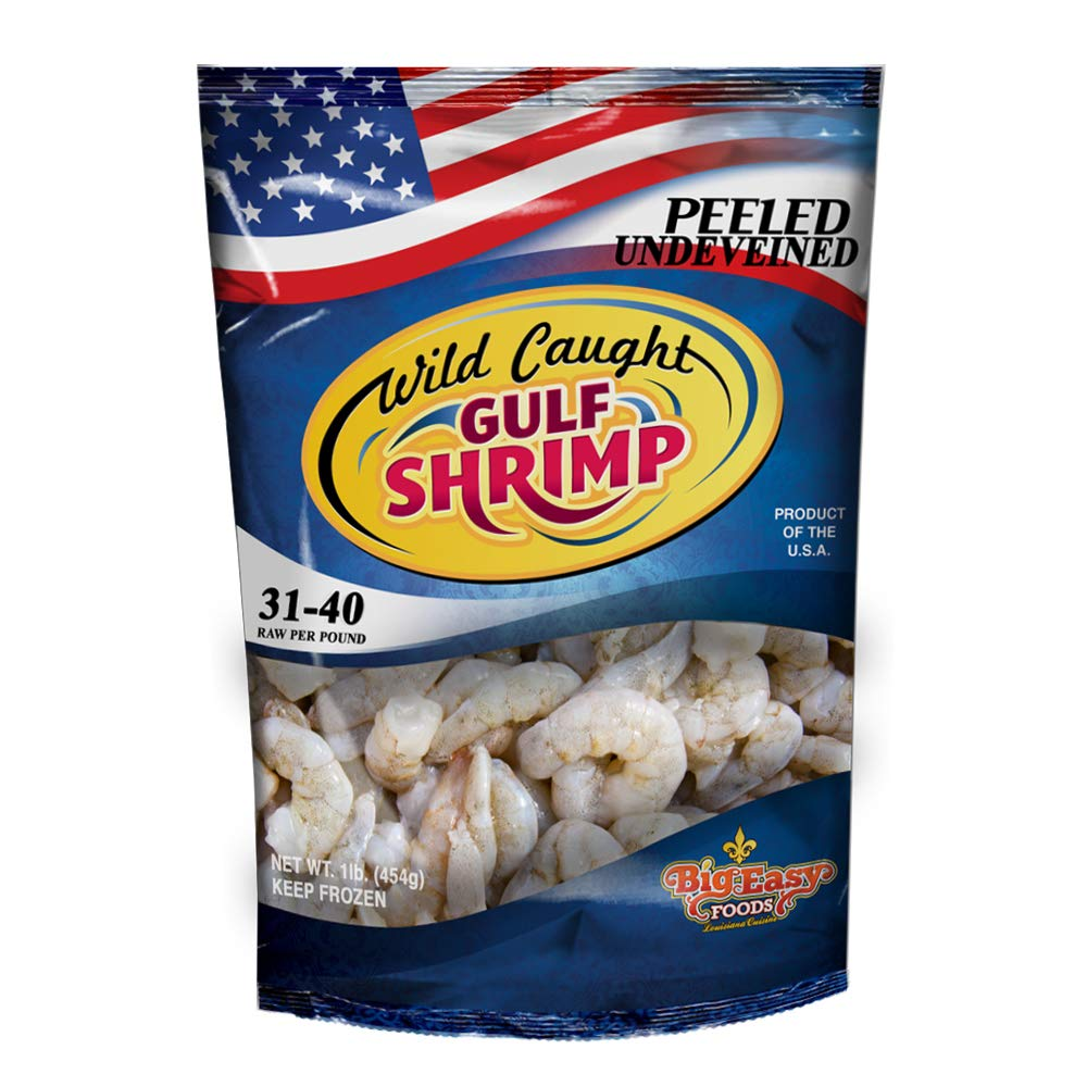 IQF shrimp 31/40 Count Medium Peeled Un-deveined - Raw frozen Shrimp, Shrimp USA, medium size American shrimp (2 pack)