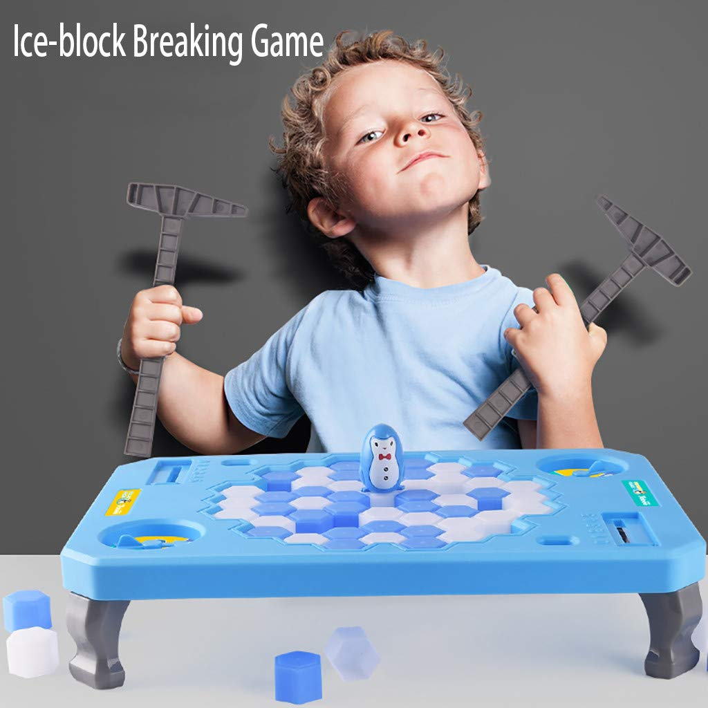 Hopedawn_toy Baby Gift Ice-Block Breaking Game Penguin Table Game Building Blocks Puzzle Kids (Blue)