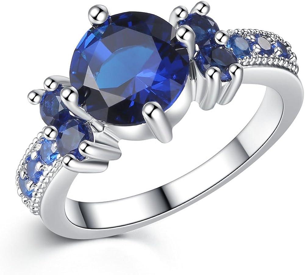 ONECK Mujeres Anillo de 10K GF Cristal Azul Piedra Anillos de Boda ...