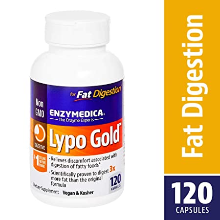 Enzymedica   Lypo Gold, Dietary Supplement To Support Fat Digestion, Vegan, Gluten Free, Non Gmo, 120 Capsules (120 Servings) by Enzymedica