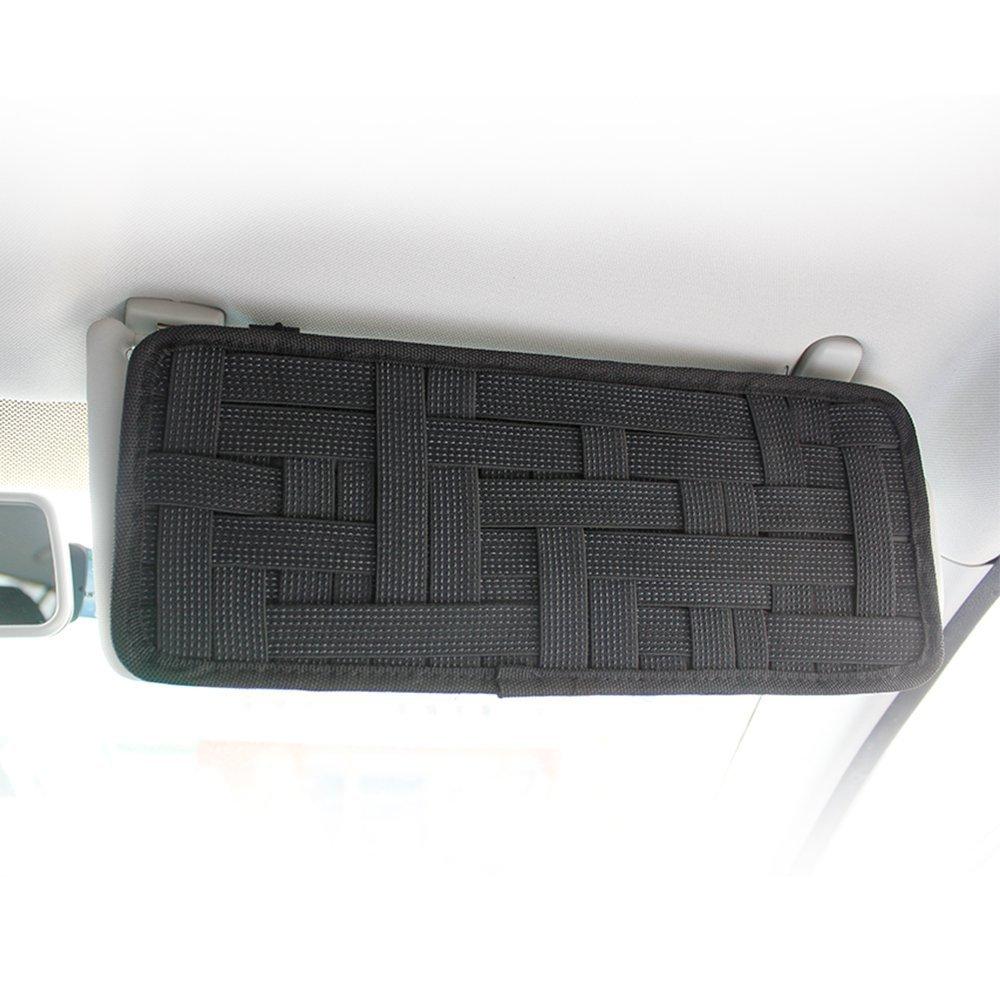 Keku 2/confezioni auto visiera Storage Board di tessuto elastico antiscivolo per occhiali da sole comando del carburante card digitale accessori Auto parasole organizer