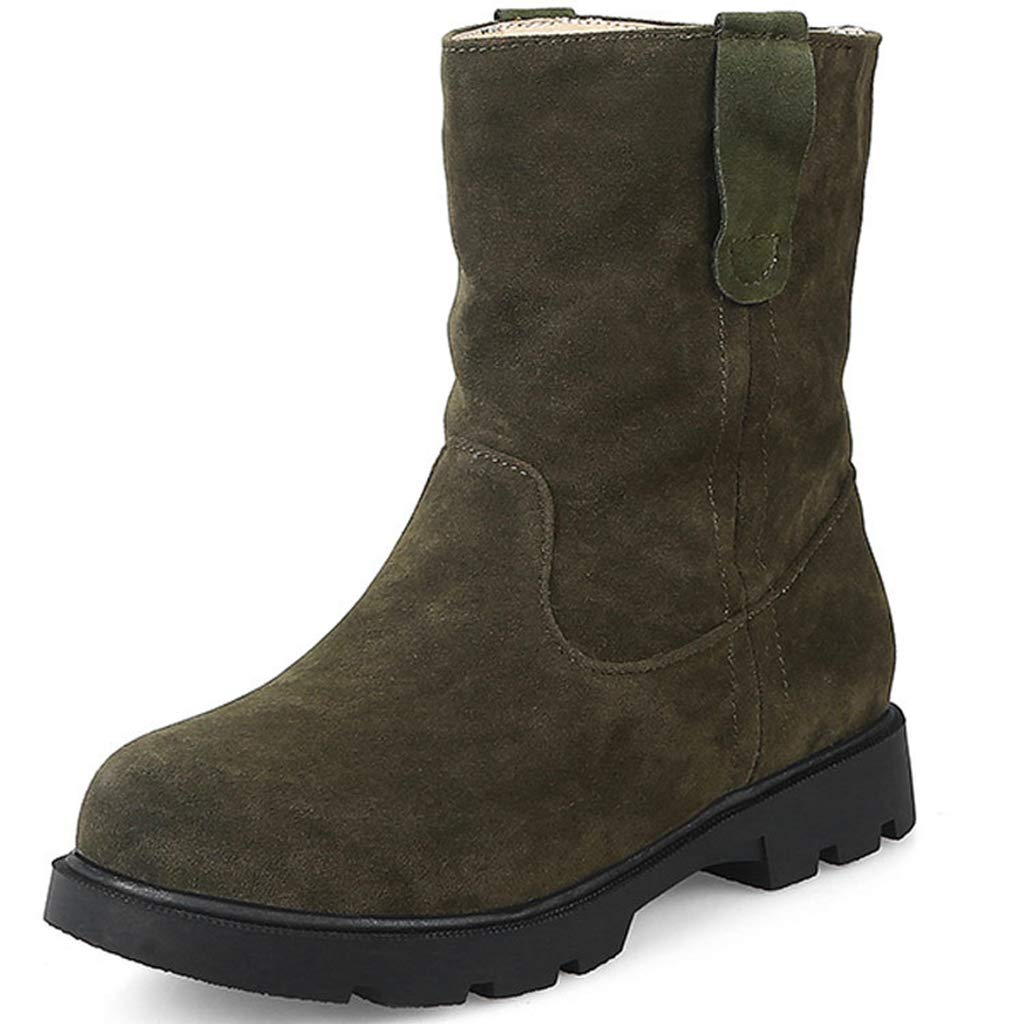 GIY Womens Winter Snow Boots Warm Fur Suede Waterproof Short Boots Slip On Flat Low Heel Casual Ankle Boots