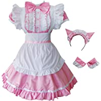 GRAJTCIN Women's Cat Ear French Maid Costume with Apron, 5 Pieces Fancy Dress for Halloween Cosplay