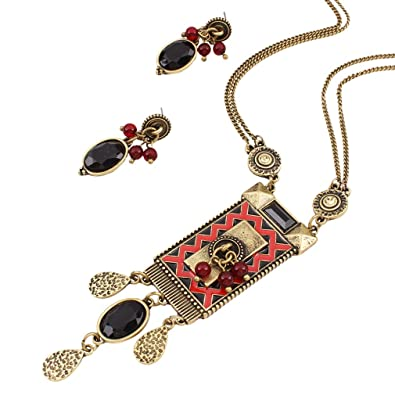 Yazilind Silver Plated Resin Drop Pendant Chunky Choker Collar Necklace with Earrings Set for Women O34RLKVjue