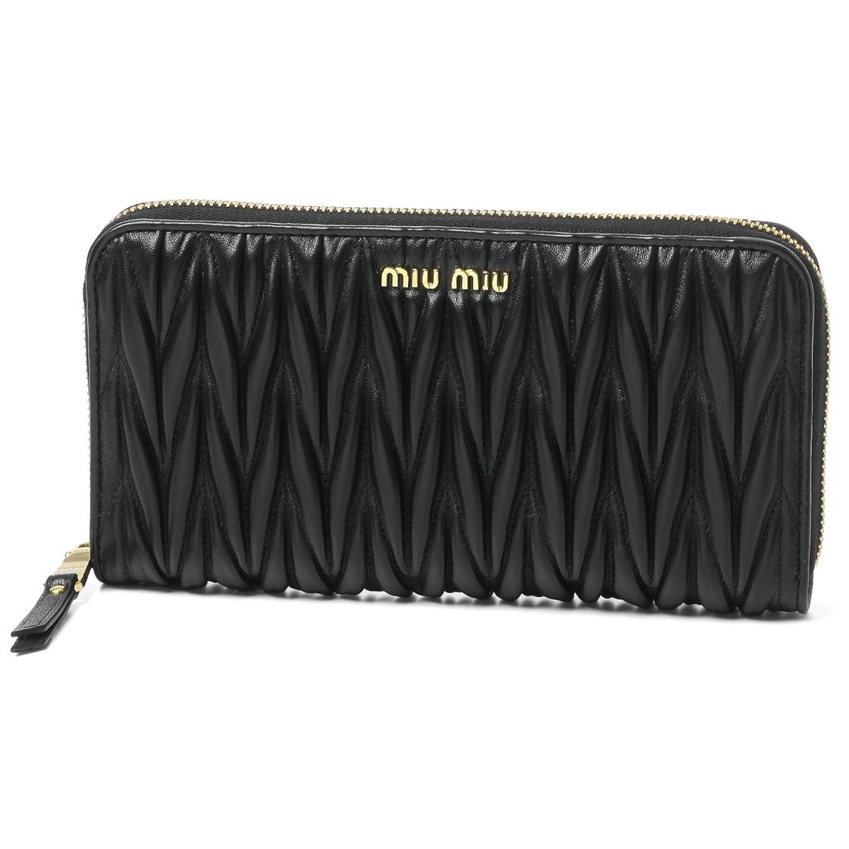 (ミュウ ミュウ) MIU MIU ラウンドファスナー長財布 MATELASSE ブラック 5ML506 N88 F0002 [並行輸入品] B078XS86JJ