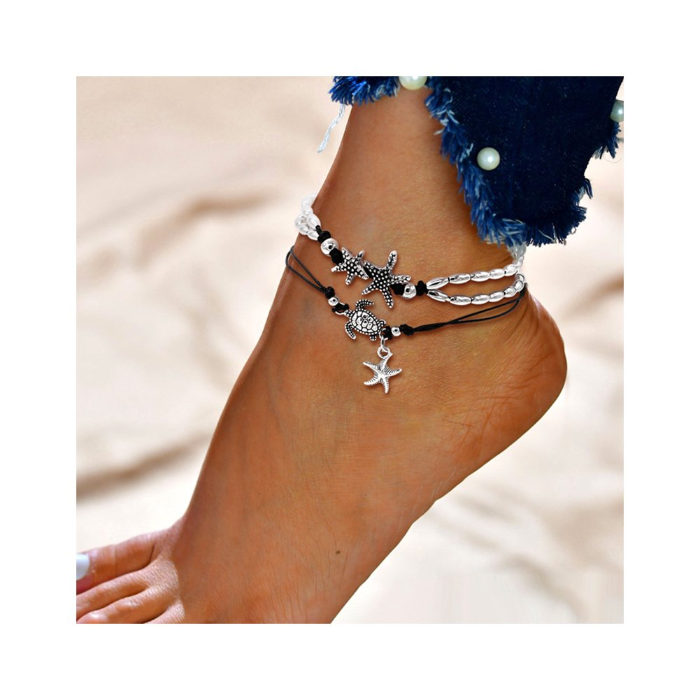 Geerier Handmade Starfish Turtle Anklet Turquoise Pearl Beach Anklet Foot Chain for Women 2pcs Pack B07DLPZ5SK_US