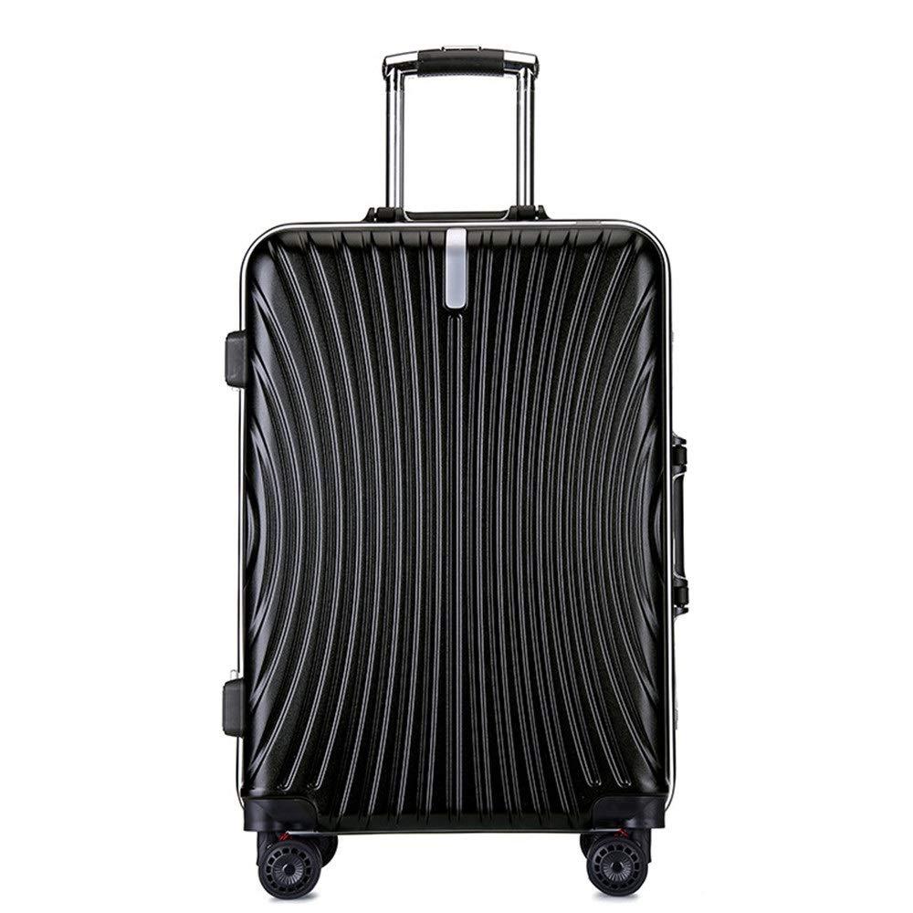 スーツケース シングルピースハードシェル微調整旅行荷物スーツケースライトポータブルでコラムスーツケースサイレントローテーター多方向航空機飛行 週末にスーツケースを運ぶ (色 : ブラック, サイズ : 24inches) B07SRX995Z