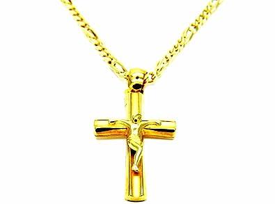0351e64426d Pegaso Gioielli – Collier Homme en or jaune 18 ct à maille gourmette avec  pendentif Christ