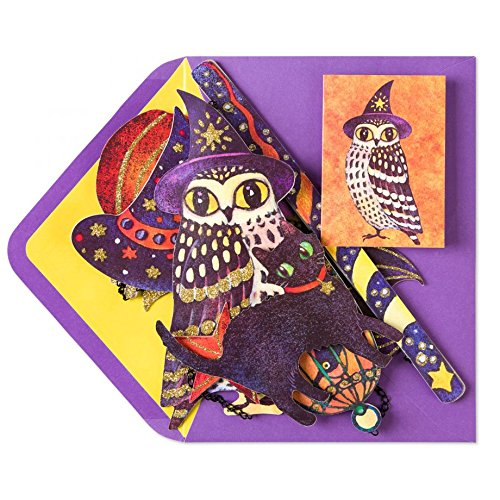 Papyrus Wizard Owl Mobile Halloween Card - Glitter Embellished - Wishing You a Fun-Filled and Spooky Night