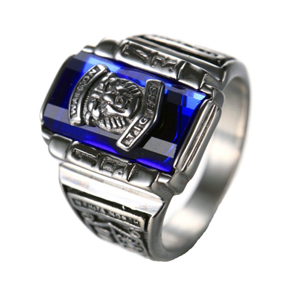LILILEO Jewelry Silver Plated Stainless Steel Blue Zircon Classic 1973 Walton Tiger High School Class Rings For Men's Ring