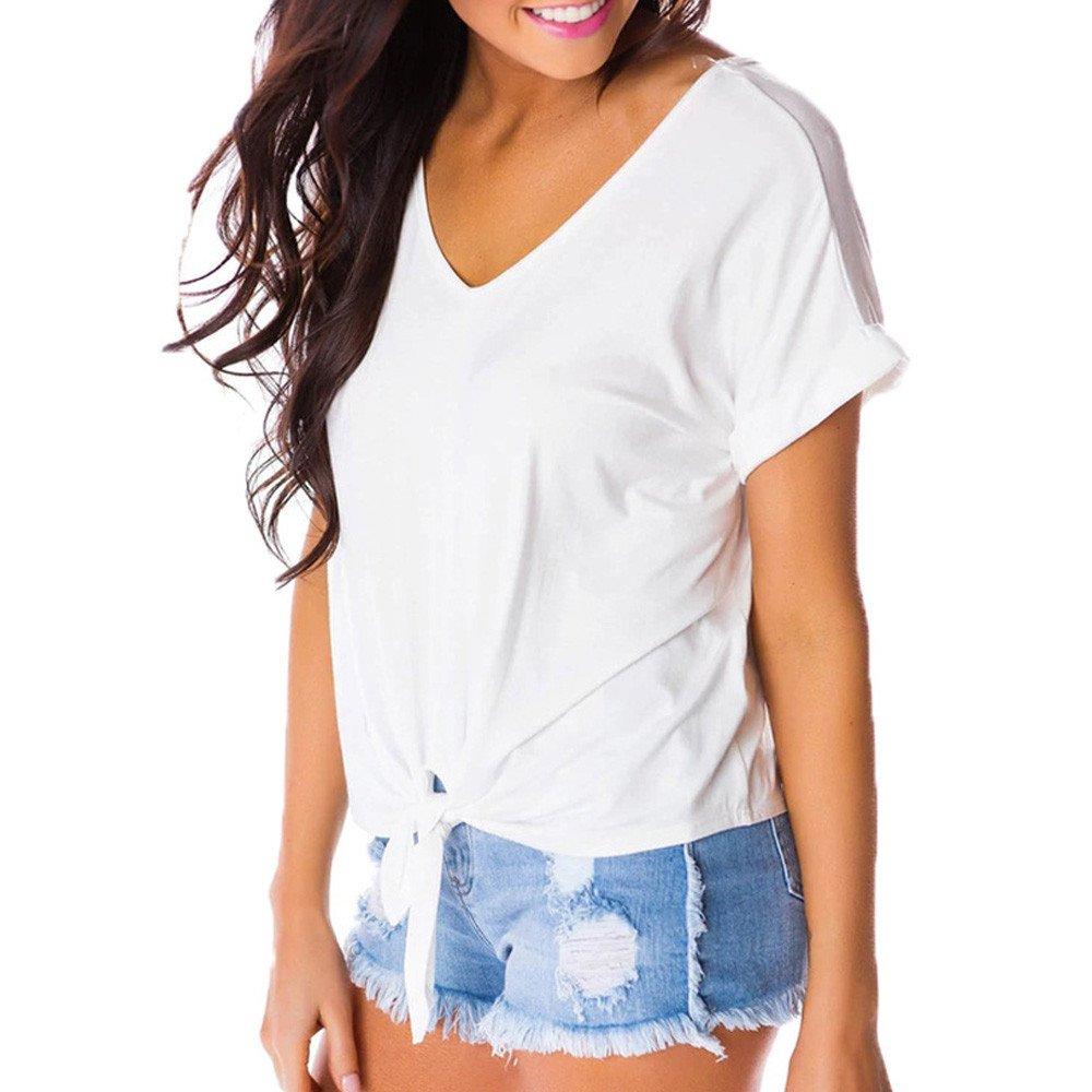 Women T-Shirts Casual Short Sleeve Open Shoulder Short Sleeve Strap T-Shirt Top White