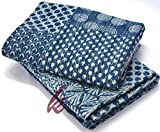 Hand Block Print Bedcover Twin Size Blue Indigo Kantha Quilt Indigo Print Bedcover Indian Kantha Quilt Block Print Bedcover Patchwork Kantha Bedcover kusum creation