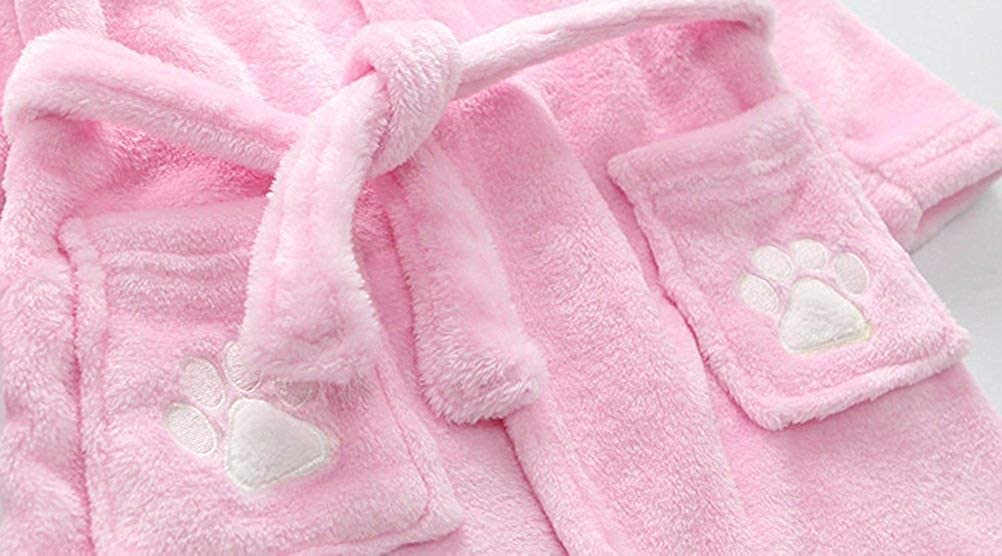 Kids Little Boys Girls Cartoon Coral Fleece Bathrobe Unisex Kids Super Soft Robe Pajamas Sleepwear Outfit