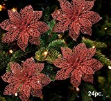 Banberry Designs Poinsettia Ornaments - Pack of 24 Glitter Poinsettia Flowers with Metal Clip - Holiday Decorations - Artificial Poinsettia Ornaments