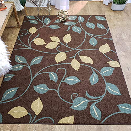 Area Rug 3x5 Brown Floral Kitchen Rugs and mats | Rubber Backed Non Skid Rug Living Room Bathroom Nursery Home Decor Under Door Entryway Floor Non Slip Washable | Made in Europe