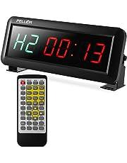 PELLOR Fitness Timer 1,5 Zoll Digitalanzeige Intervall Timer Multifunktionale Workout Gym Timer Wanduhr mit IR-Fernbedienung für Crossfit, Tabata, EMOM, MMA