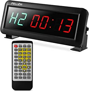 "PELLOR Fitness Training Gym Timer, Interval Timer Clock with Remote Control Indoor for Crossfit, Tabata, EMOM, MMA (2.3"" Digits Height)"