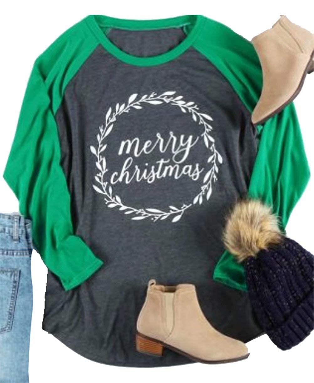 bf9a37016eb Amazon.com  Plus Size Merry Christmas Baseball T-Shirt Women 3 4 Sleeve  Holiday Splicing Tee Tops  Clothing