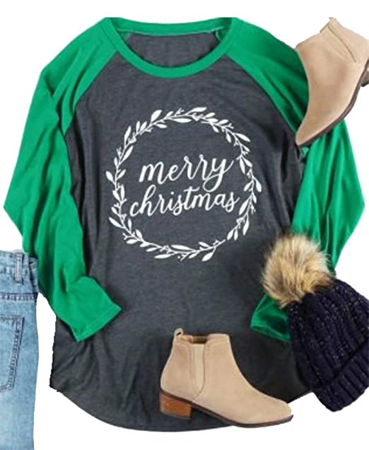 d9a8f2bb55d Amazon.com  Plus Size Merry Christmas Baseball T-Shirt Women 3 4 Sleeve  Holiday Splicing Tee Tops  Clothing