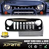 Xprite 2015 Latest Black Front Matte Grill Mesh Grille Angry Bird Grille Grid With Black Mesh inserts For Jeep Wrangler Rubicon Sahara Sport Jk 2007-2015