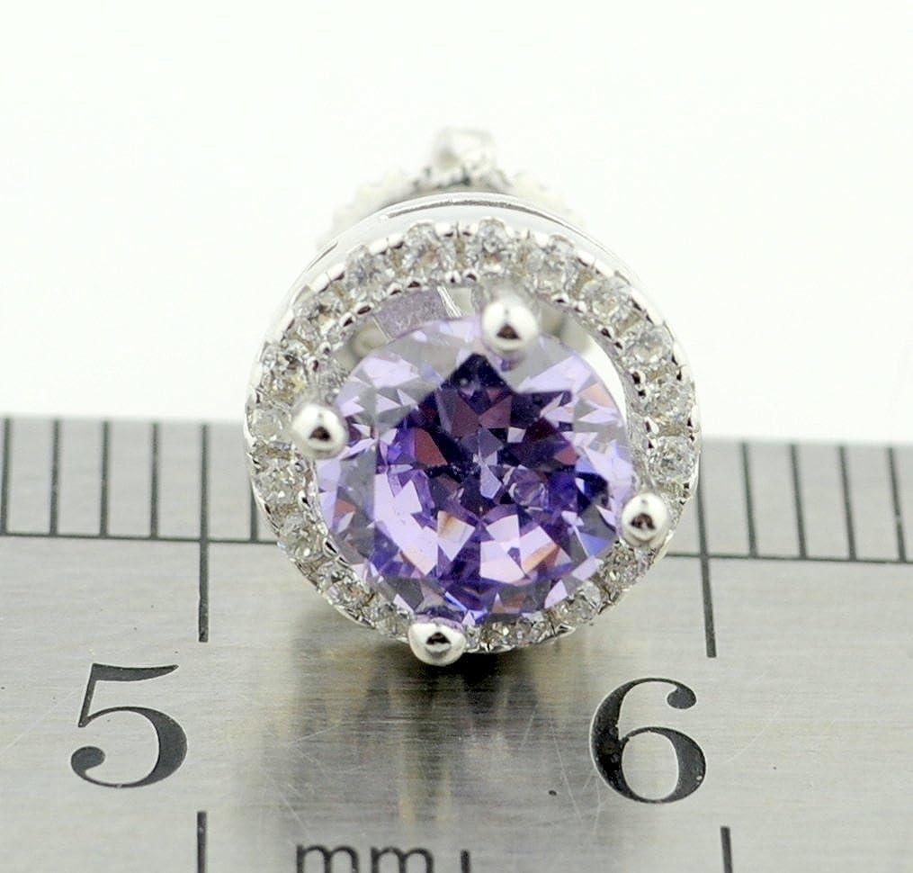 8.5mm Halo Earrings Sterling Silver Purple and White Cubic Zirconia Stud Earrings Screw Back
