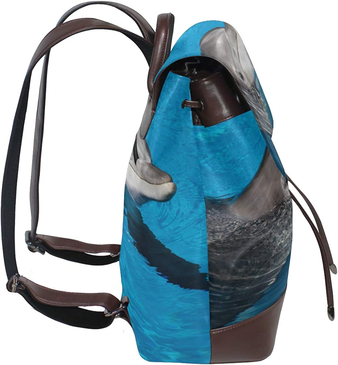 Dolphin Underwater On Reef Look Leather Backpack For Teens Pu Leather Backpack Purse Drawstring Waterproof Daily Shoulder Bag Casual Leather Backpack For Women