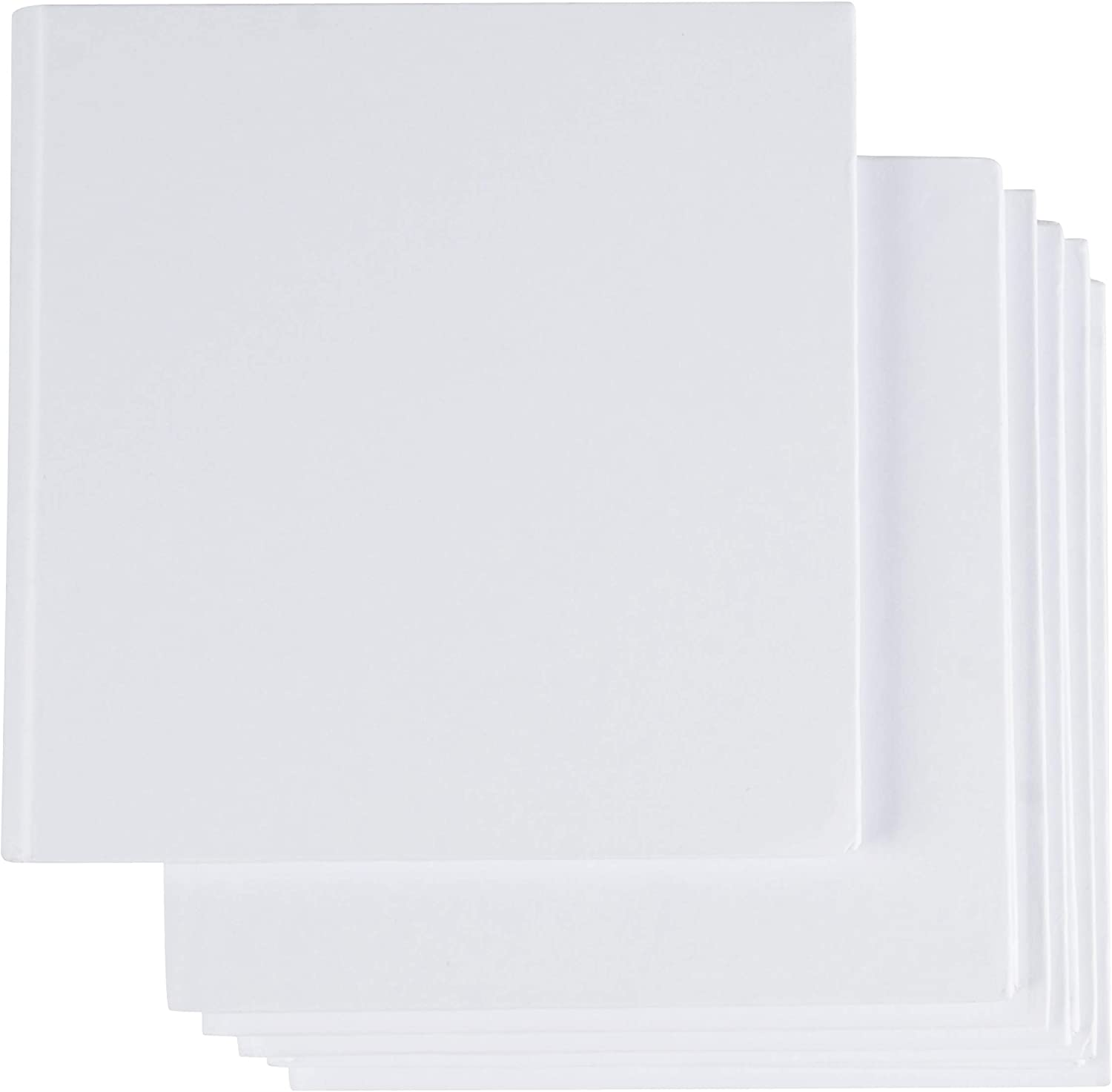 Hardcover Blank Book - 6-Pack Unlined Sketchbooks, Unruled Plain Travel Journals for Students Sketches, Children's Writing Books, Creative Class Projects, White, 5 x 5 Inches, 18 Sheets Each