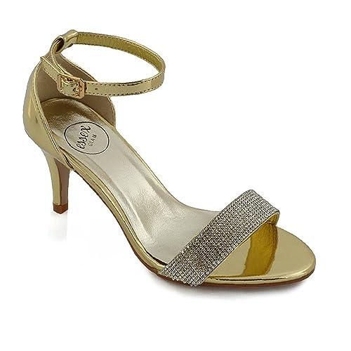 ESSEX GLAM Donna Tacco Basso Stiletto Peep Toe Diamante Sintetico Sandalo   Amazon.it  Scarpe e borse 8c4109df3d3
