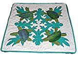 HAWAIIAN QUILTED SWIMMING SEA TURTLES PILLOW CUSHION COVER- 16''