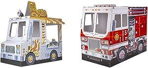 Melissa & Doug Food Truck Indoor Playhouse & Fire Truck Indoor Playhouse