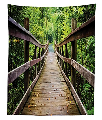 - Lunarable Landscape Tapestry Twin Size, Rustic Wooden Bridge Limberlost Trail in Shenandoah National Park Virginia, Wall Hanging Bedspread Bed Cover Wall Decor, 68 W X 88 L inches, Brown and Green