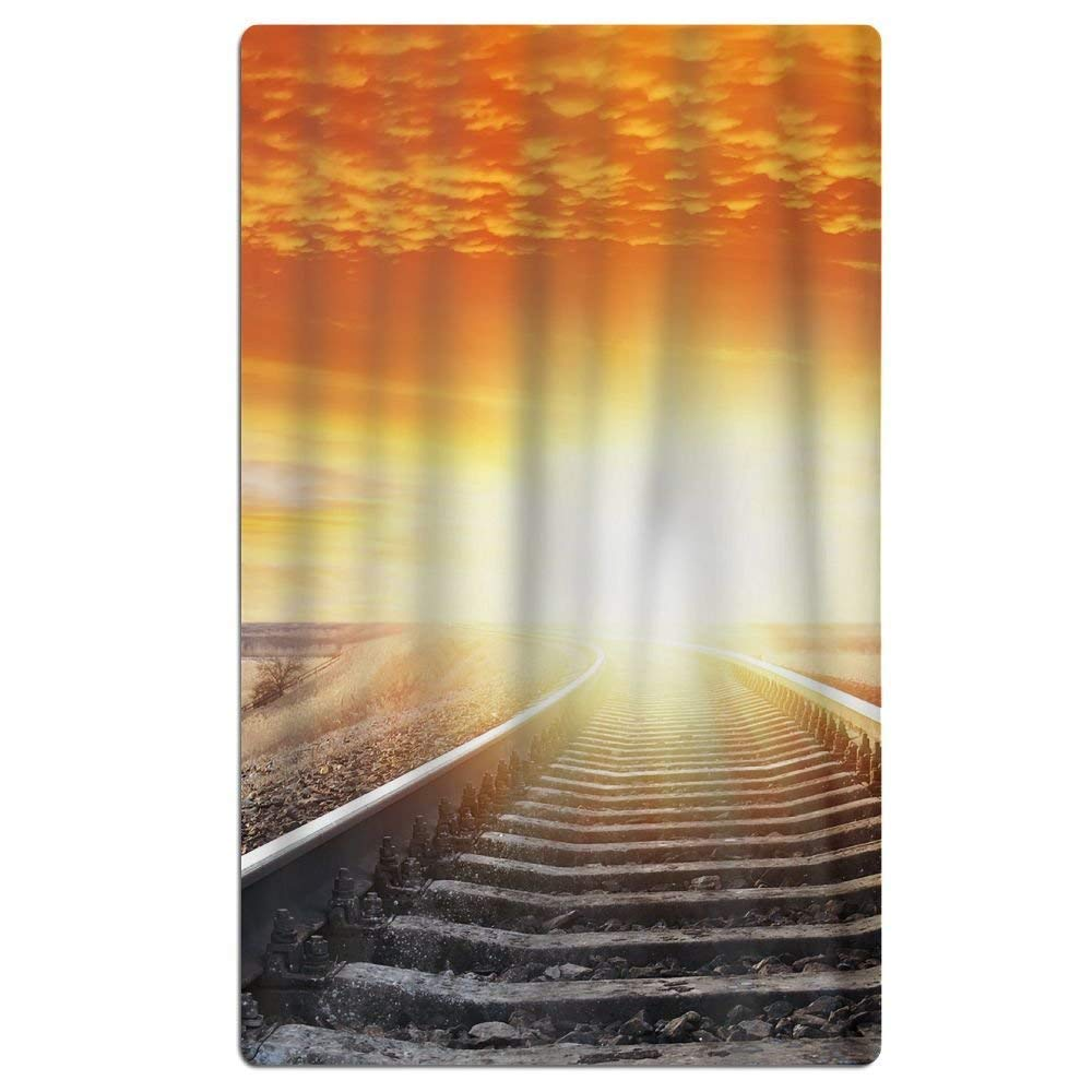 Badausstattung GHEDPO Strandtücher Handtücher Bath Towel Train Tracks Sunset Art Creative Patterned Soft Beach Towel 31x 51 Towel with Unique Design Frottiertücher