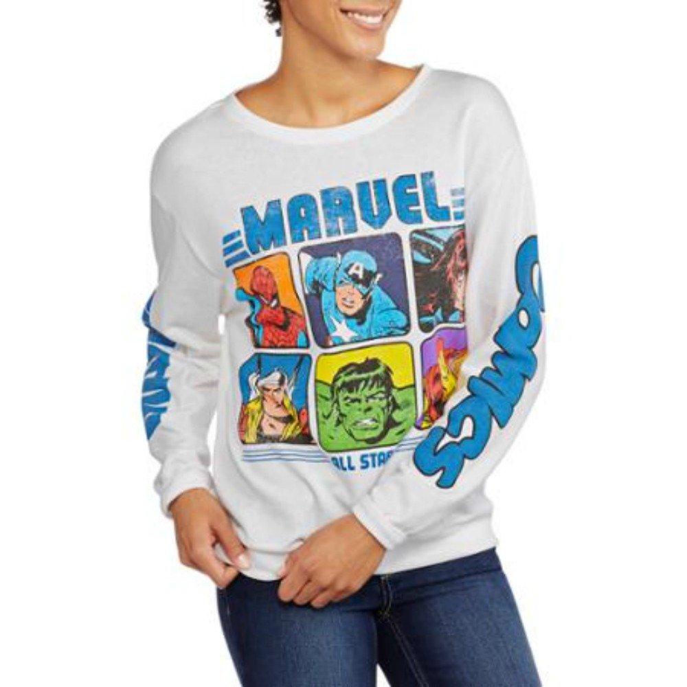 Marvel Hulk Captain America Spider-Man Thor Juniors Printed Sleeve Pullover (Small)
