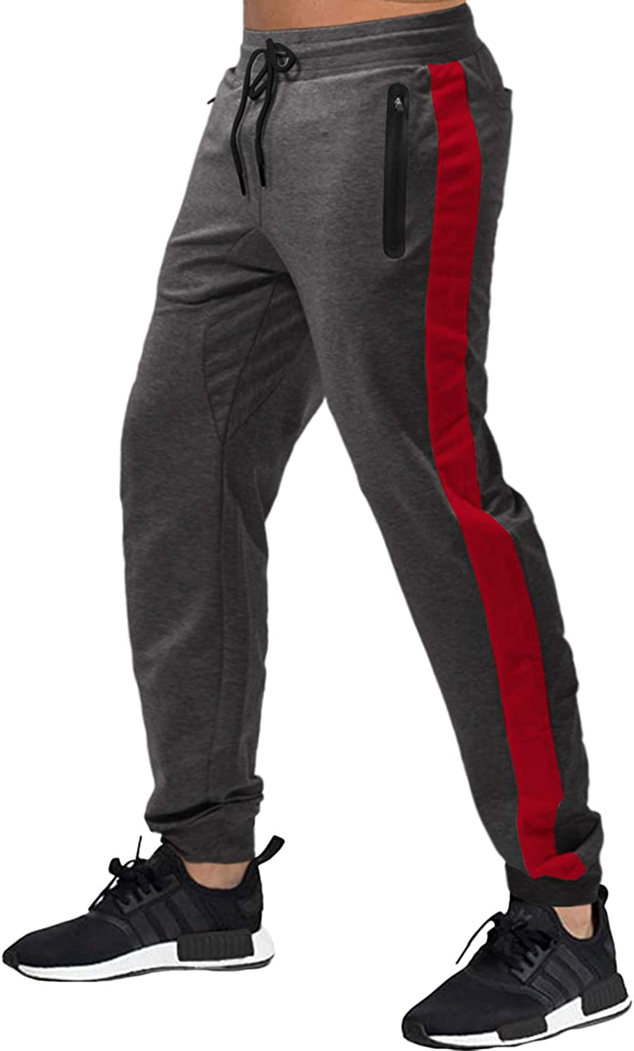 Houshelp Mens Running Jogger Pants Casual Sweatpants Gym Workout Track Pants Leather Trousers Sweatpants with Pockets