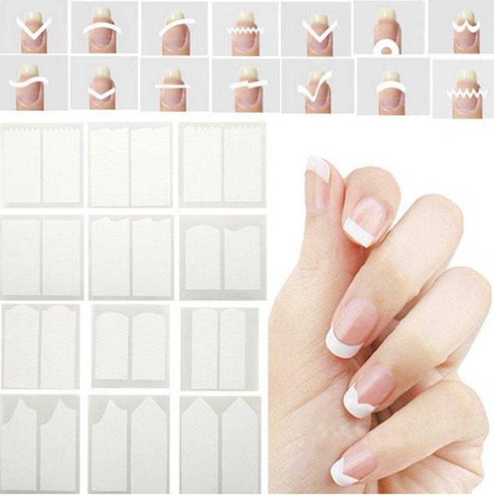 Lumanuby 24 Feuilles Nail Stickers Autocollants pour Ongles de 3D Nail Art assortis pour la décoration d'ongles Blanc