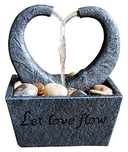 Nature's Mark Flowing Heart LED Relaxation Water Fountain with Authentic River Rocks