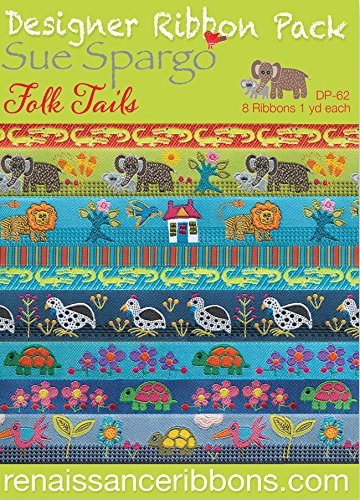 Renaissance Ribbons DP-62SP Sue Spargo Folktails Designer Ribbon Pack Multicolor
