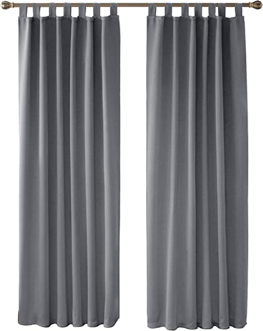 Deconovo Vorhang Blickdicht Gardinen Blickdicht Verdunkelungsvorhang  Schlaufen 245x140 cm Dunkelgrau 2er Set