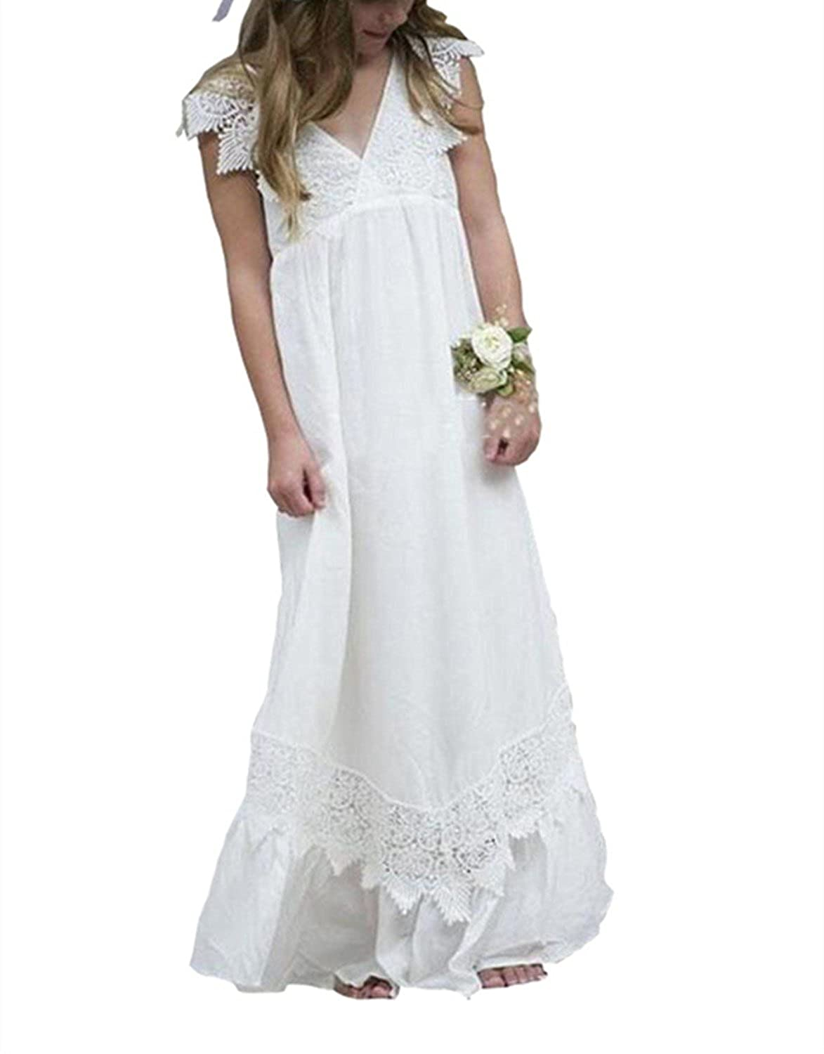 85ec1b1ce760 Amazon.com: YOUTODRE Boho Flower Girls Dresses for Wedding Beach Chiffon  Lace V Neck Country Gowns: Clothing